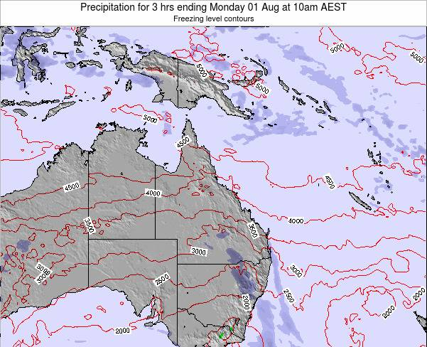 Queensland Precipitation for 3 hrs ending Monday 22 Apr at 4am AEST map