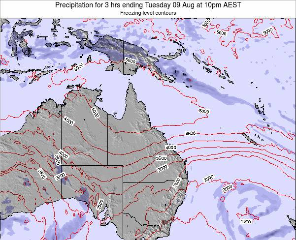 Queensland Precipitation for 3 hrs ending Wednesday 22 May at 4am EST map