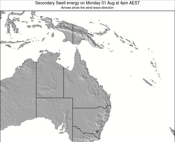 Queensland Secondary Swell energy on Thursday 28 Sep at 10pm AEST