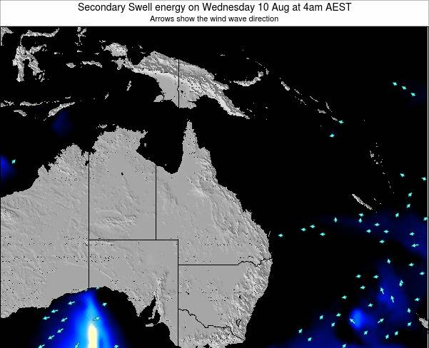 Queensland Secondary Swell energy on Tuesday 05 Aug at 4am EST