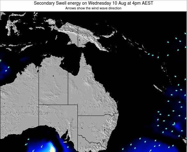 Queensland Secondary Swell energy on Wednesday 23 Apr at 10am EST