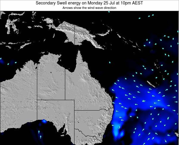 Queensland Secondary Swell energy on Monday 17 Mar at 4am EST