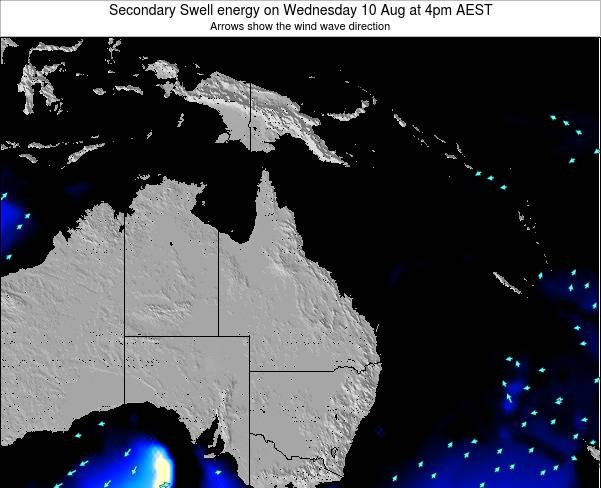 Queensland Secondary Swell energy on Friday 01 Aug at 10pm EST