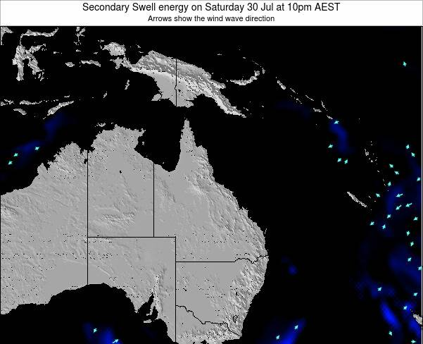 Queensland Secondary Swell energy on Saturday 15 Mar at 10pm EST
