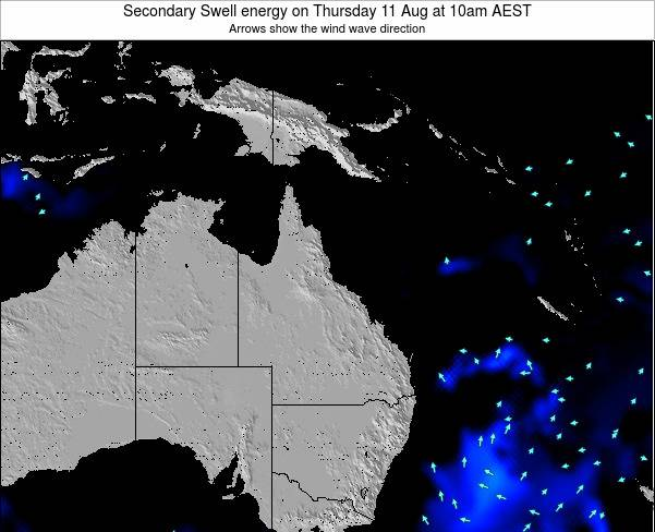 Queensland Secondary Swell energy on Tuesday 29 Aug at 4am AEST