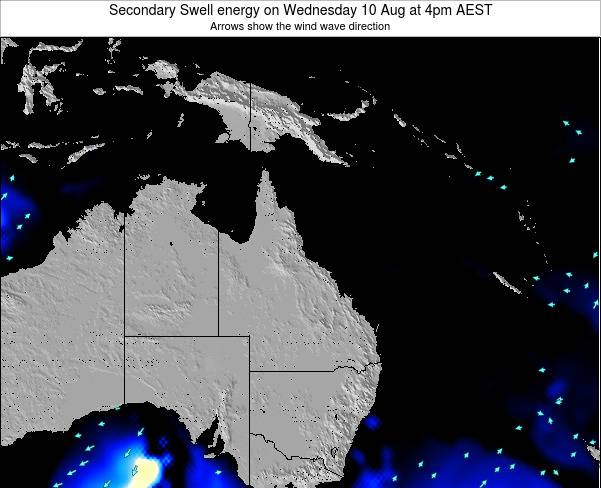 Queensland Secondary Swell energy on Tuesday 02 Aug at 10pm AEST