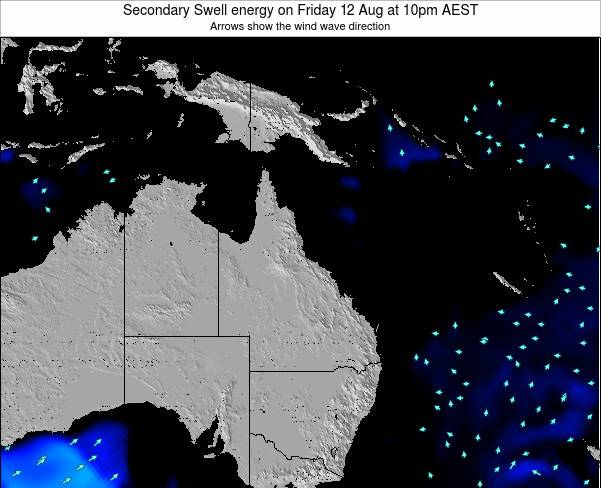 Queensland Secondary Swell energy on Saturday 01 Nov at 10am EST