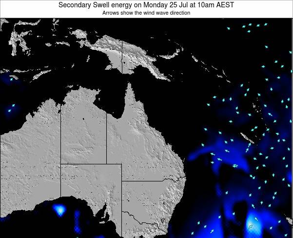Queensland Secondary Swell energy on Thursday 17 Apr at 10pm EST
