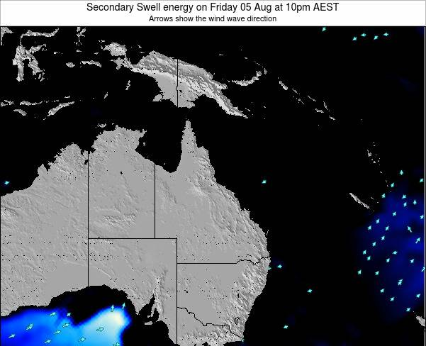 Queensland Secondary Swell energy on Wednesday 11 Dec at 4pm EST