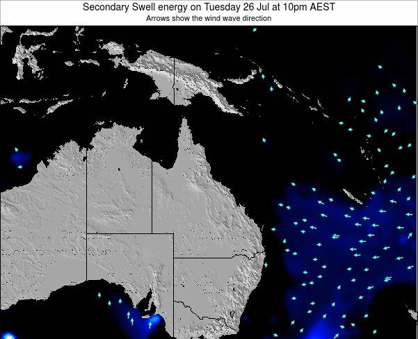 Queensland Secondary Swell energy on Sunday 15 Dec at 4pm EST