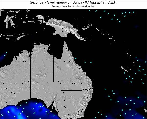 Queensland Secondary Swell energy on Saturday 29 Nov at 10pm EST