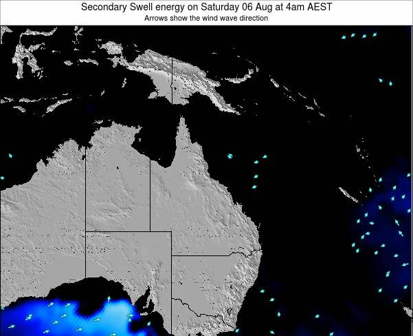 Queensland Secondary Swell energy on Friday 07 Mar at 4pm EST