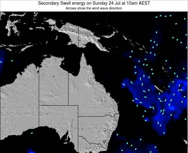 Queensland Secondary Swell energy on Saturday 25 Oct at 10am EST