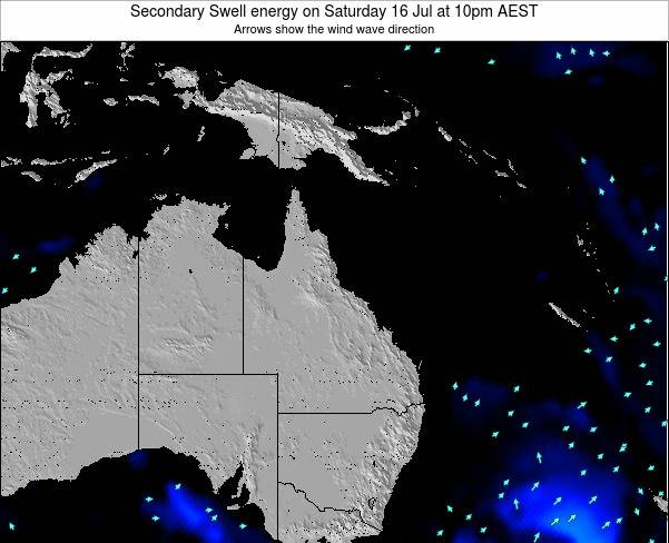 Queensland Secondary Swell energy on Sunday 01 Mar at 4am EST