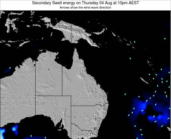 Queensland Secondary Swell energy on Saturday 02 Aug at 4am EST