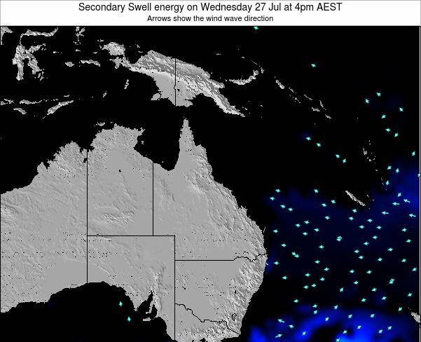 Queensland Secondary Swell energy on Friday 01 Aug at 4pm EST