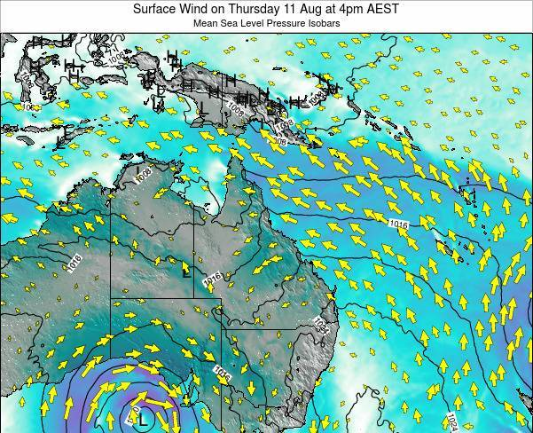 Queensland Surface Wind on Tuesday 17 Dec at 4am EST