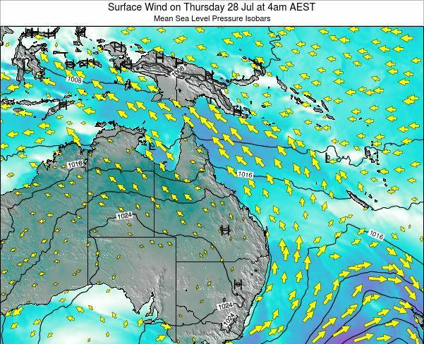Queensland Surface Wind on Monday 12 Dec at 4pm AEST