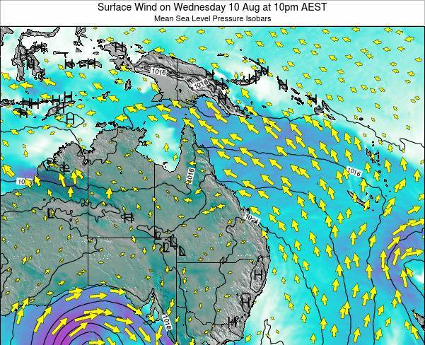 Queensland Surface Wind on Wednesday 23 Apr at 4pm EST