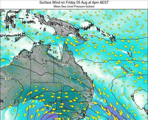 Queensland Surface Wind on Wednesday 30 Jul at 4am EST