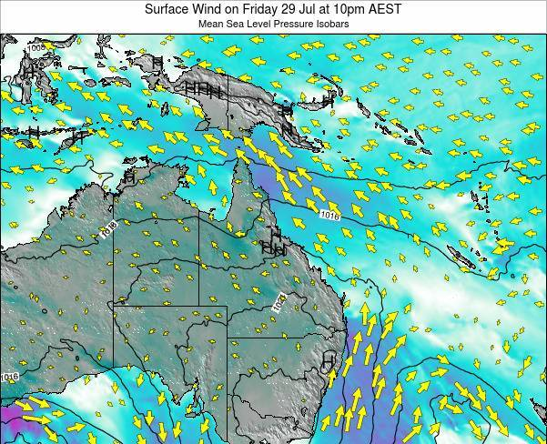 Queensland Surface Wind on Tuesday 05 Aug at 4pm EST