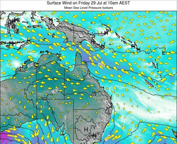 Queensland Surface Wind on Monday 28 Apr at 10pm EST