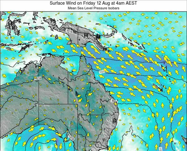 Queensland Surface Wind on Friday 25 Apr at 4am EST