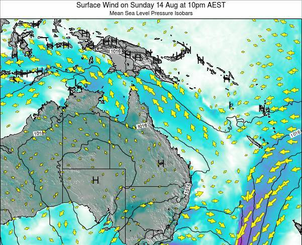 Queensland Surface Wind on Wednesday 04 Feb at 10pm EST