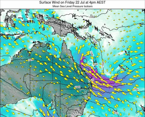 Queensland Surface Wind on Sunday 05 Apr at 10pm EST