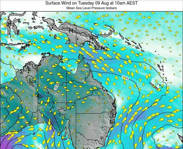Queensland Surface Wind on Tuesday 29 Apr at 4pm EST