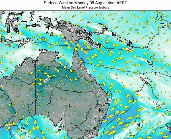 Queensland Surface Wind on Saturday 13 Feb at 10pm AEST