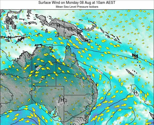 Queensland Surface Wind on Wednesday 30 Jul at 10am EST