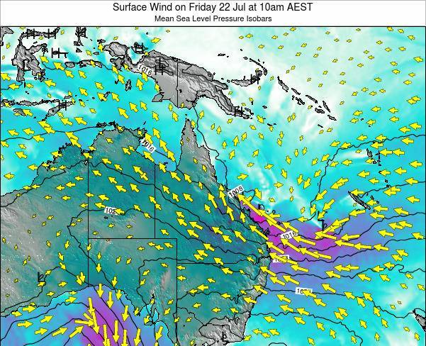 Queensland Surface Wind on Monday 04 Aug at 4am EST