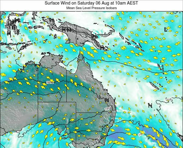 Queensland Surface Wind on Sunday 19 May at 10am EST