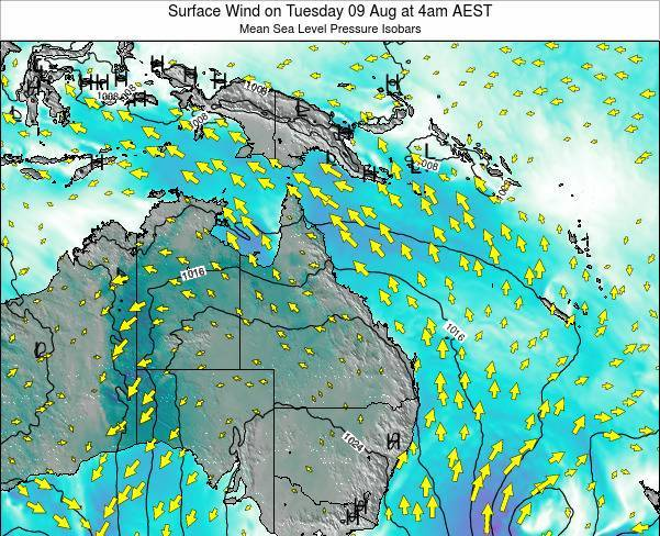 Queensland Surface Wind on Friday 25 Apr at 4pm EST