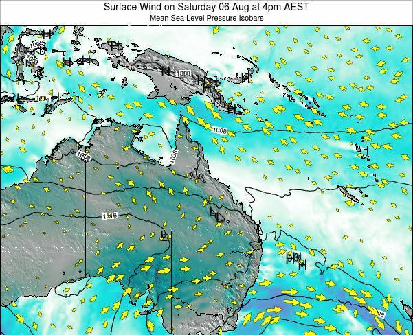 Queensland Surface Wind on Monday 21 Apr at 10pm EST