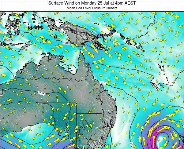 Queensland Surface Wind on Thursday 13 Mar at 4pm EST
