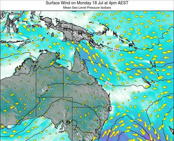 Queensland Surface Wind on Saturday 14 Dec at 4pm EST