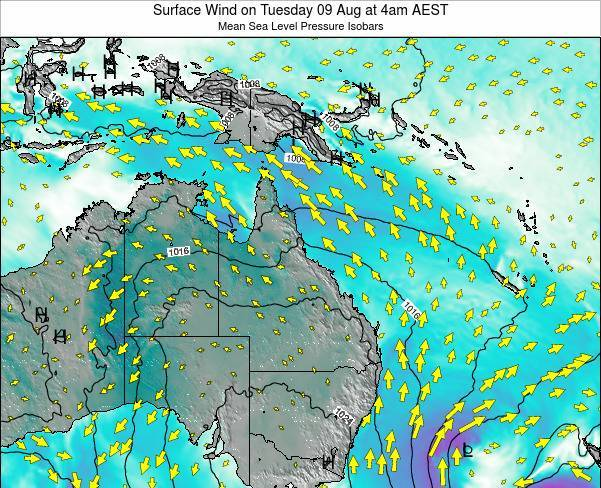 Queensland Surface Wind on Sunday 27 Apr at 4pm EST