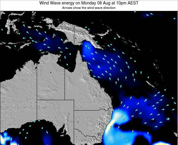 Queensland Wind Wave energy on Saturday 25 May at 10pm EST