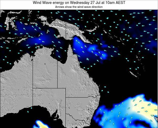 Queensland Wind Wave energy on Tuesday 22 Apr at 4am EST