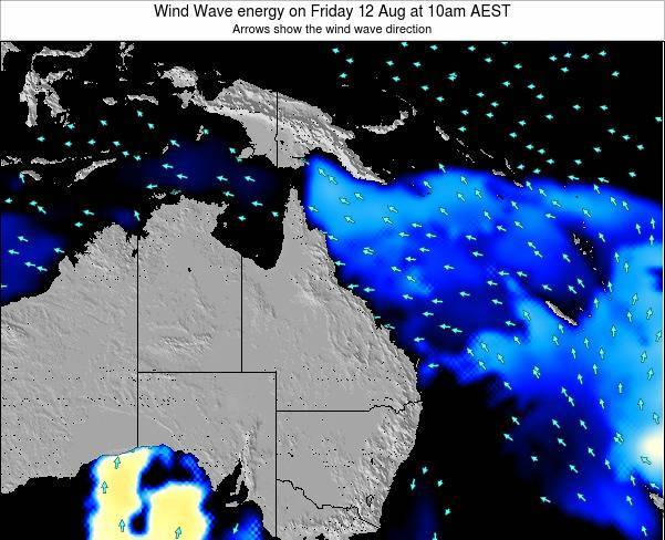 Queensland Wind Wave energy on Tuesday 10 Dec at 10pm EST