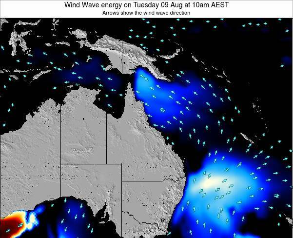 Queensland Wind Wave energy on Wednesday 18 Dec at 10am EST