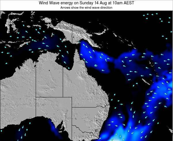 Queensland Wind Wave energy on Thursday 13 Mar at 10pm EST