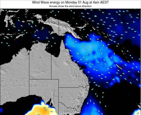 Queensland Wind Wave energy on Thursday 23 Oct at 4am EST