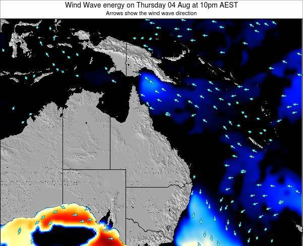 Queensland Wind Wave energy on Saturday 19 Apr at 10pm EST
