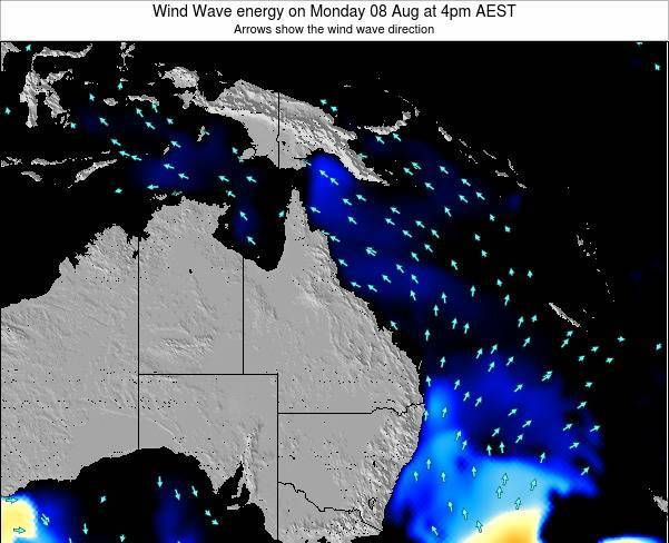 Queensland Wind Wave energy on Saturday 28 Mar at 4pm EST
