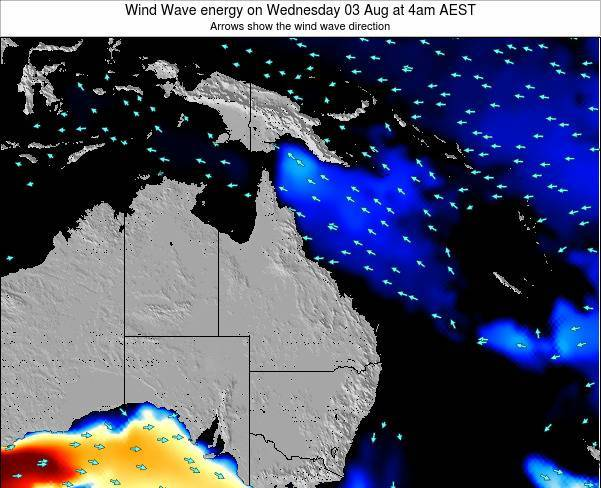 Queensland Wind Wave energy on Saturday 08 Mar at 10pm EST
