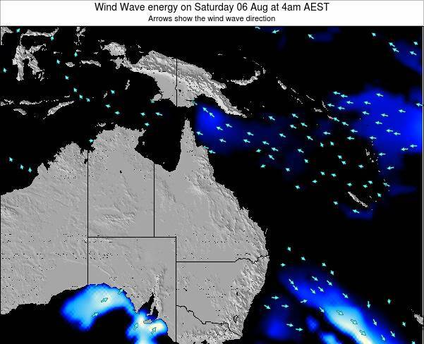 Queensland Wind Wave energy on Friday 24 Oct at 10am EST