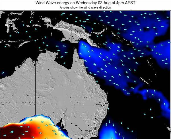 Queensland Wind Wave energy on Saturday 02 Aug at 4pm EST